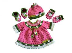 Quick & easy to make this unique stunningly cute Watermelon baby set which will fit 3 - 9 months Basic skills needed: American terminology is used with metric measurements Basic knitting stitches Knitted on the flat with single pointed needles You need t Baby Knitting Patterns, Knitting Stitches, Crochet Patterns, Skirt Patterns, Coat Patterns, Blouse Patterns, Sewing Patterns, Watermelon Baby Carriage, Crochet Hooks
