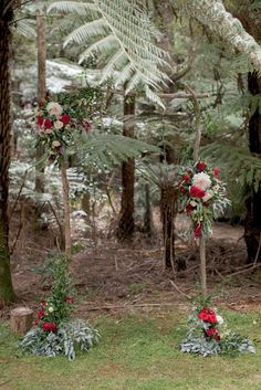 Wooden branch arch with red burgundy flowers| Envy Events, Wedding Hire, Styling, Planning, Auckland