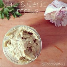 Herb & Garlic Hummus! What you'll need: 400g cooked chickpeas | 3 Tbs...