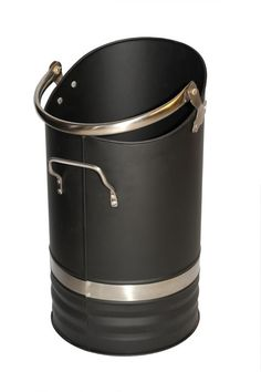 Black coal bucket with a stylish stainless steel trim. The coal hod features two handles to make it even easier to both pour and carry coal to and from your fireplace. The must have accessory for your fire side to keep your coal neat and tidy in a traditional style coal bucket.