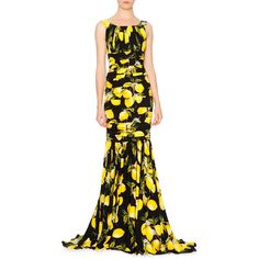 Dolce & Gabbana Sleeveless Pleated Lemon Gown (€6.705) ❤ liked on Polyvore featuring dresses, gowns, white dress, floor length dresses, floor length ball gowns, white evening dresses and floor length evening gowns