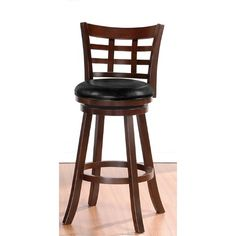 """Poundex Bobkona Faux Leather Grid Back 29"""" Swivel Barstool in Brown"""