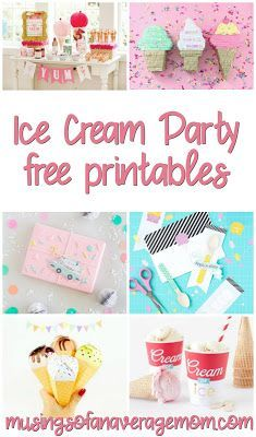 all about the Ice Cream! Tons of free Ice Cream party printables!Tons of free Ice Cream party printables! Summer Ice Cream, Diy Ice Cream, Cream Cream, Ice Cream Party Favors Kids, Ice Cream Theme, Ice Cream Games, Vintage Ice Cream, Ice Cream Social, Invitation