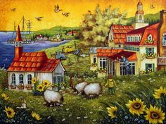 Christine Genest ~ The Fawlty Towers in Tadoussac Fawlty Towers, Sheep Art, Perfect Peace, Country Lifestyle, Ecole Art, Country Art, Naive Art, Illustrations, Tole Painting