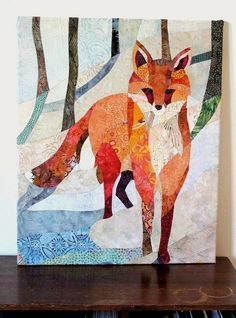 Red Fox in the Snow  Quilt Fabric Art by ccollier on Etsy. I wish it was a full sized quilt...and cheaper...way cheaper lol