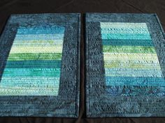 Batik Place Mats in Blues and Greens, Two by Tessasquiltshop on Etsy