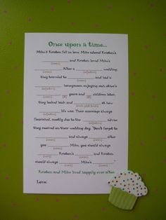 Wedding shower game: How the Couple met Mad Lib