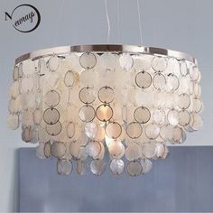 226.92$  Watch now - http://aliops.worldwells.pw/go.php?t=32538240808 - Modern white Capiz Seashell lamp Lampshade Lustres Pendant Lamps for Living Room Hanging Lamp Light Fixtures luminaire avize