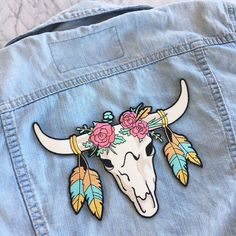 Longhorn Patch, Back Patch, Southwestern - Festival - Boho Chic, Iron On, Wildflower + Co. DIY ………………………………….………………………………….…………………….. Boho chic, southwestern inspired longhorn back patch. Huge - this gorgeous patch is sized as a back patch - amazing on denim or army jackets +! Embellished with roses & feathers – this longhorn is festival ready!! Gorgeous color palette of rose pink, aqua blue, green, & subdued neutrals all accented by metallic gold. Fully embroidered. Wildflower + Co. ...