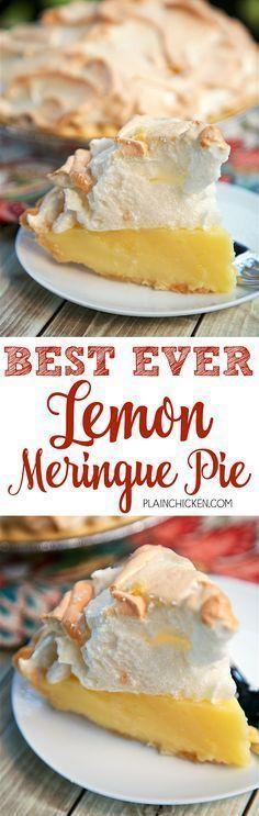 Best Ever Lemon Meringue Pie - homemade lemon pie topped with a quick homemade meringue. (sugar, cornstarch, eggs, milk lemon juice, butter, lemon zest) The pie is ready…