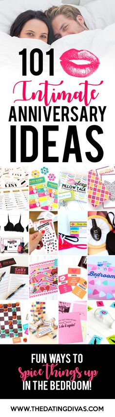 Over 100 SEXY and INTIMATE Anniversary Ideas! Everything from dates to games to printables and products. From TheDatingDivas.com