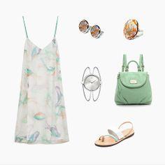 En el look of the week de esta semana te proponemos:  Conjunto Sahara - dCUIR  Vestido vaporoso - ZARA Bolso mochila - Marc Jacobs Intl Reloj - Calvin Klein Sandalias - Isapera  Enjoy the SUMMER! Be Fresh, Be simple, Be you!  Buy it in http://eshop.dcuir.es/  #dcuirstyle #bisutería #leather #piel #pendientes #anillo #dcuir #zara #marcjacobs #calvinklein #Isapera