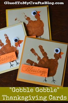 Gobble Gobble Thanksgiving Cards. Your kids will love making homemade cards for family members using paint, cardstock, googly eyes, and glue sticks.