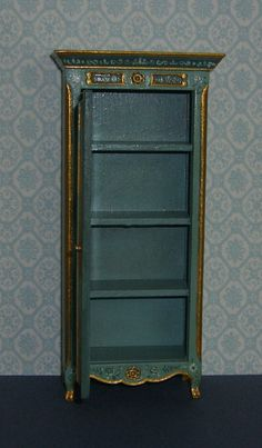 It is signed and dated - Leslie Lassige (that's me!). on the bottom. Dollhouse Miniature Curio Cabinet/Cupboard. The latest, a pretty curio cabinet/cupboard I've refinished in a french teal and victorian teal color scheme. | eBay!