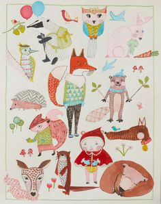 Red Riding Hood & Woodland Friends - Nursery Illustration - A4 or A3 Giclee Print    Featuring lots of Woodland/Forest Animals including a fox,