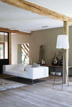 poutre en bois, salon avec déco poutre en bois originale