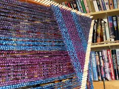 Tangible Daydreams: Planning colors for a triloom shawl, in Lion Brand Homespun yarn