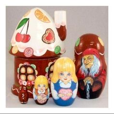 Hansel and Gretel Gingerbread Russian Wood Nesting Doll