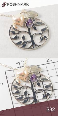 """Sterling Silver Tree of Life Necklace Eye catching and versatile, this tree of life pendant symbolizes your positive energy and good health.  This sterling silver Tree of Life pendant is framed by champagne pink pearl, amethyst and labradorite and supports your look with modern style and simple grace. 18"""" sterling silver chain. Just Bea Jewelry Necklaces"""
