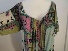 Charlotte Russe Blouse Boho Top Multi-Color Size M Large Neckline #CharlotteRusse #KnitTop