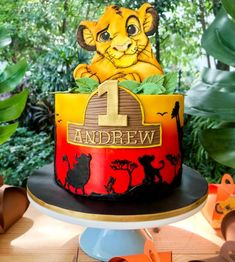 2nd Birthday Party Themes, Safari Birthday Party, Baby Birthday Cakes, 1st Boy Birthday, Lion Guard Birthday Cake, Lion King Birthday, Lion King Theme, Lion King Party, Lion Cakes