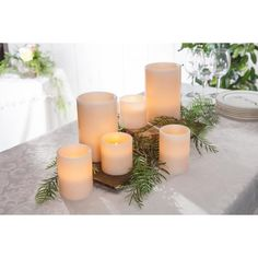Dispel the darkness and usher in the light with this practical and attractive set of 6, real wax, straight edge, 1000-hour candles. Perfect for a romantic setting or to accentuate your own personal decorating style on the holidays, special occasions or year-round, each candle is artfully crafted in smooth, bisque-colored wax and includes a warm white, energy efficient LED light with our Soft Glow Flicker and Fully Body Glow effects.