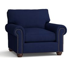 Webster Roll Arm Upholstered Armchair with Bronze Nailheads, Down Blend Wrapped Cushions, Linen Blend Peacoat Navy