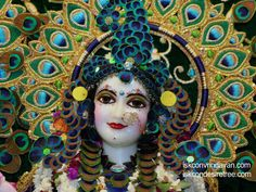 Iskcon Vrindavan, Radha Rani, Peacock Feathers, Deities, Krishna, Close Up, Worship, Disney Characters, Fictional Characters
