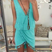 Hot Sale Sexy Summer Women Dress 2015 Casual Solid V-neck Dresses Desigual Robe Women Clothing Plus Size Vestido de festa Beach