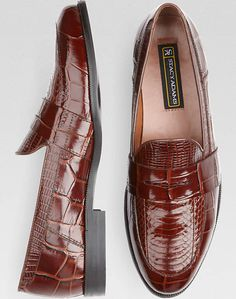 Stacy Adams Cognac Snakeskin Penny Loafers | Men's Wearhouse