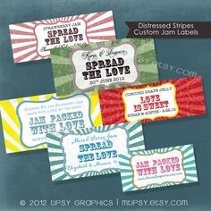 Rustic Distressed Stripes. Spread the Love. Jam Packed with Love. Jar Label Design. Printable file. Any colors & Size by Tipsy Graphics. $16.00, via Etsy.