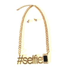 #LETS TAKE A SELFIE GOLD TONE SELFIE NECKLACE WITH FAUX DIAMOND STUDS Accessories