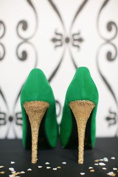 Black & White Geometrical Wedding Shoot, green and gold wedding shoes