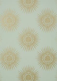 BAHIA, Metallic Gold on Aqua, T35144, Collection Graphic Resource from Thibaut