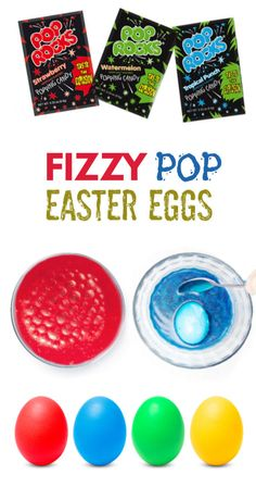 Dye Easter eggs usin Dye Easter eggs using Pop Rocks! These eggs fizz & pop as they change colors before your eyes- a must try Easter activity for kids! Easter Egg Dye, Easter Crafts For Kids, Easter Party, Easter Ideas, Easter Recipes, Easter Food, Easter Bunny, Easter Activities For Kids, Spring Activities