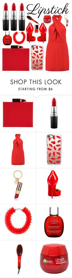 """Red Lipstick"" by katie-longmore ❤ liked on Polyvore featuring Lulu Guinness, MAC Cosmetics, Halston Heritage, Casetify, Henri Bendel, Christian Louboutin, Mary Katrantzou, Clarins, Vecceli and Garnier"