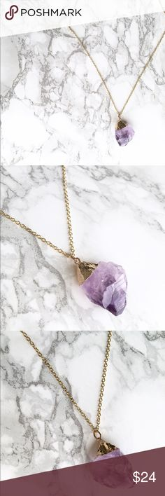 "Amethyst gold dip plated necklace Amethyst gold plated necklace. 12"" long (24"") with2.4"" extension LIMITED Jewelry Necklaces"