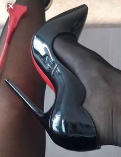 christian louboutin about Black Stiletto Heels, Black High Heels, High Heel Pumps, Pumps Heels, Sexy Heels, Pantyhose Heels, Stockings Heels, Talons Sexy, Sexy Stiefel