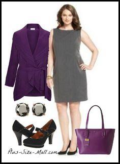 Plus Size Work Outfit - Gray Sheath Dress & Cardigan #plussize #fashion