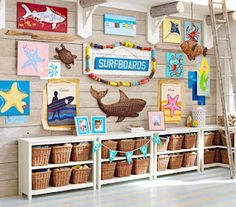 Beach themed kids room....love everything about this!