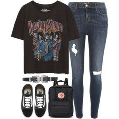 outfit with a band tee and vans