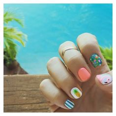 Summer nails #nailart #pineapple #flamingo ❤ liked on Polyvore featuring beauty products and nail care