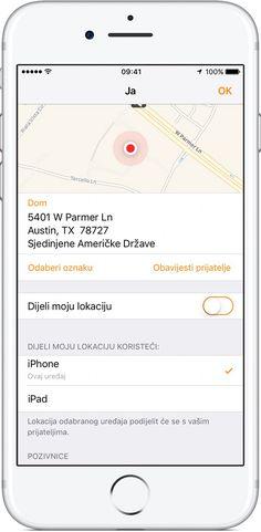 Pomoću značajke Nađi moje prijatelje s iPhone, iPad, iPod touch, Apple Watch uređaja ili na iCloud.com možete jednostavno locirati svoje prijatelje i obitelj.