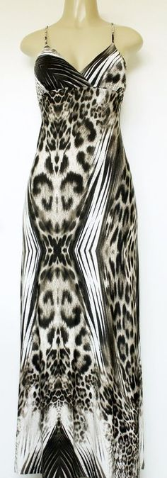 EUC Michelle Animal Print Maxi Dress Women L Strappy Back Long Spaghetti Strap #Michelle #BeachDressMaxi