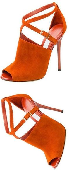 Shoespie Orange Suede-like Peep Toe Stiletto Heels