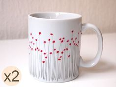 Hand painted poppy mug made of Limoges porcelain  set by EMAtelier