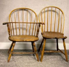 Windsor Sack-back Knuckle Armchair and a Windsor Bow-back Side Chair. | Sale Number 2271, Lot Number 821 | Skinner Auctioneers