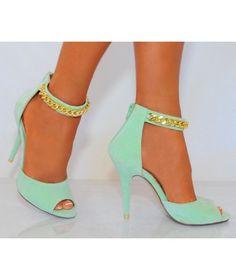 Mint Green Gold Chain High Heels - HeelsFans.com