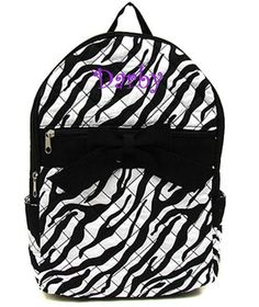 Personalized Girls Zebra Backpack-Black and White. $28.95, via Etsy.