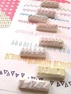 geometric stamp. border hand carved rubber stamp. por talktothesun